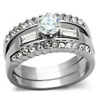 5mm Brilliant CZ 3 Ring Set Stainless Steel Womens Wedding Engagement  SZ 5-10