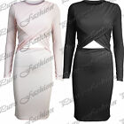 Ladeis Long Sleeves Cut Out Wrap Womens Calf Length Midi Bodycon Dress Long Top