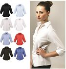 Ladies Womens Business Hospitality Barwear 3/4 Sleeve Poplin Shirt Blouse