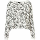 Ex TOPSHOP CURRENT SCULL SKULL OVER SIZED CROP CROPPED JUMPER TOP SWEAT TOP TEE