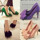 Womens Sexy Faux Suede Bowknot Pointed Toe High Heeled Pumps Court Shoes