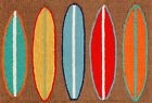 """AREA RUGS - """"SURFS UP"""" RUG - INDOOR OUTDOOR RUG - COLORFUL SURFBOARDS RUG"""
