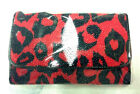 NEW! 100% GENUINE STINGRAY LEATHER CLUTCH WALLET,TRI-FOLD  CRIMSON-RED CHEETA