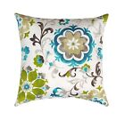 Mill Creek Sislo Eucalyptus Teal Suzani Floral Outdoor Decorative Throw Pillow