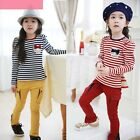 2pcs Kids Girl Stripe Sets Girl's suit T shirt+Tight pants Children Set 2-7Years