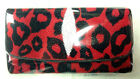 NEW 100% GENUINE STINGRAY LEATHER CLUTCH WALLET,TRI-FOLD RED-BLACK CHEETA COLOUR