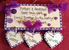 MOTHER'S DAY GIFT......Handmade, wooden MOTHER & DAUGHTER  plaque ....keepsake