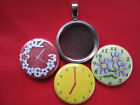 Clock Red Yellow Handmade changeable Magnetic Tray 3 Pendants  Necklace