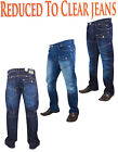 Mens Crosshatch Designers Falcoz Button Fly Curved Leg Regular Fit Jeans