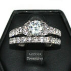 Women's 7 mm Round Clear CZ 316 Stainless Steel Engagement Wedding 2 Ring Set