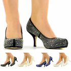 NEW LADIES PARTY PROM WEDDING MID HEELS PLATFORM DIAMANTE BRIDAL SHOES SIZE 3-8