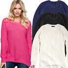LADIES JUMPERS COTTON UK WOMENS SIZE 8- 26 RIBBED PLUS  KNIT LONG LENGTH SLEEVE