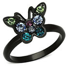 Womens Girls Multi-Colored Stone Black Stainless Steel Butterfly Ring Size 5-10