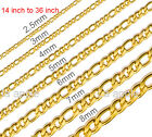 18K gold plated Mens Womens Kids 316L Stainless Steel Figaro Necklace Gold Chain
