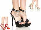 WOMEN LADIES HIGH HEEL CHAIN PLATFORM ANKLE STRAP BLACK SANDALS SHOES SIZE 4 5 6
