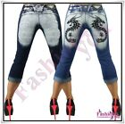 Sexy Women's Capri Jeans Shorts Ladies Tattoo Jeans Crazy Age Size 6,8,10,12,14
