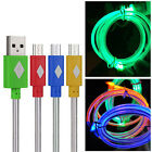 Color Luminous LED Micro USB B Data Sync Charging Cable For Smartphone Phone