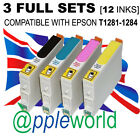 3 FULL SET of inks (12 carts) compatible with T1281-1285 [not EPSON original]