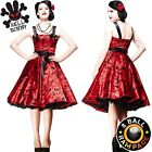 Hell Bunny Red Tattoo Flock Satin 50s Dress - Rockabilly Pin Up Swing Prom Dance