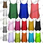 New Womens Camisole Thin Strap Ladies Basic Neon Stretchy Flared Swing Vest Top