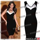 Celebrity Black White Contrast V-neck Cocktail Party Casual Bodycon Dresses 6810