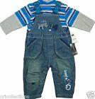 BN** EX - CHAIN STORE**BOYS DENIM DUNGAREES & LONG SLEEVE TOP SET(0 - 12mths