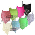 New Womens Floral Lace Dip Handkerchief Ladies Strappy Crop Hanky Hem Vest Top