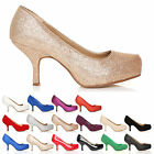 CONCEALED LOW MID HEEL PLATFORM COURT SHOES LADIES SIZE 3-8 WOMENS WORK PUMPS