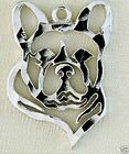 French Bulldog Head Small Necklace w/Charm Jewelry ~.925 Sterling Silver-Animals