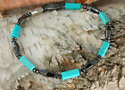CLEARANCE  Blue Chalk Turquoise Magnetic Hematite Bracelet Handmade in USA