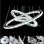 Lowest Price! Elegant 3 Crystal LED Rings Pendant Lamp Chandelier Light Lighting