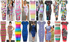 New Womens Celebrity Style Neon Floral Tropical Midi Maxi Soft Stretch Bodycon
