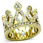 Women's Gold Tone Stainless Steel Clear Crystal Crown Fashion Ring Size 5 -10