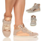 WOMENS LADIES GIRLS FLAT LACE UP STUDDED HIGH HI TOP PUMPS TRAINERS SHOES SIZE