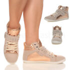 WOMENS LADIES GIRLS FLAT LACE UP STUDDED HIGH HI TOP PUMPS TRAINERS PLIMSOLES