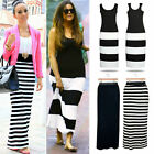Summer New Evening/Cocktail/Party Bodycon Women Ladies Stripe Long Maxi Dress