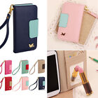 New Wallet Card Holder PU Leather Flip Case Cover For IPhone 4/4S 5/5S Galaxy