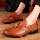 Mens Casual Leather Fringe Pointed Loafers Work Dress Shoes Oxfords Brogues A629