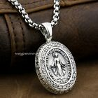 Virgin Mary JESUS White CZ Stone 925 Sterling Silver Pendant 8A004A