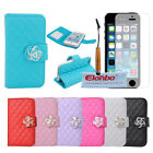 New Diamond Pattern Camellias Magnetic PU Stand Wallet Flip Case For iPhone 5C