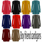 New Ladies Top Long Sleeve Plus Size Boyfriend Cardigan For Womens Size 8-22 New