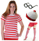 WOMENS RED & WHITE STRIPED T SHIRT HAT GLASSES  BOOK DAY FANCY DRESS COSTUME