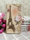 2Colors Flower eiffel tower Pu leather Whole cover case For Samsung phones