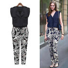 New Womens V Neck Evening Party Club Casual Jumpsuit Romper Long Pants Trousers
