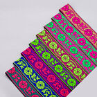 Neotrims India Floral Jacquard Ribbon, Bright Fluorescents, Salwar, Sari Border