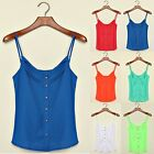 Summer Women V Neck Candy Spaghetti Shirt Chiffon Blouse Strap Hot Top Vest Tank