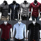 Mens Stylish Slim-Fit Luxury Formal Casual Dress Shirt Tops Striped/Check/Solid
