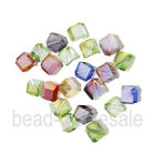 20pcs Cube Glass Crystal Red/Pink/White/Blue Spacer Beads for Jewelry 6mm
