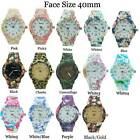 Geneva Ladies Rubberised Coated Floral Print Watch 40mm New USA SELLER