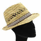 STRAW TRILBY HAT WITH BROWN/CREAM WOVEN BAND FEDORA SUN BEACH BRIM 3 sizes